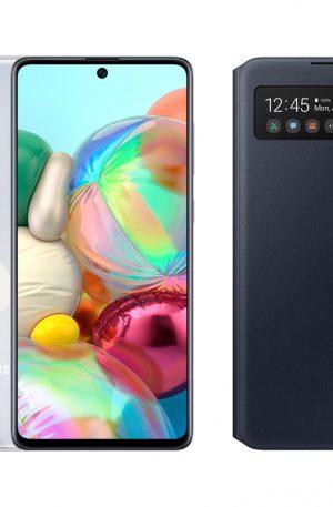 Samsung Galaxy A71 Zilver + Samsung S View Wallet Cover Zwart