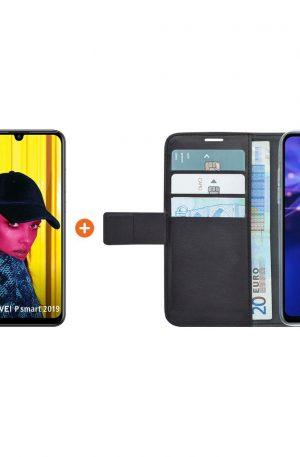 Huawei P Smart (2019) Zwart + Azuri Wallet Magneet Book Case Zwart