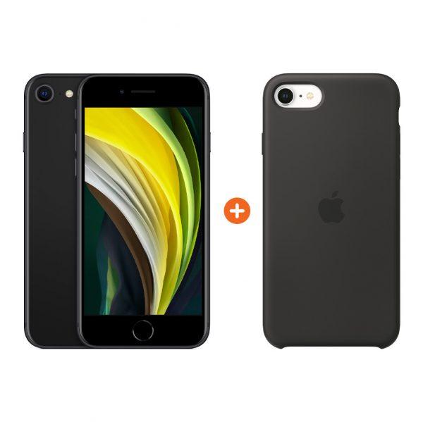 Apple iPhone SE 2 128 GB Zwart + Apple iPhone SE Silicone Back Cover Zwart