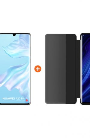 Huawei P30 Pro 128GB Zwart + P30 Pro View Flip Cover Book Case Zwart