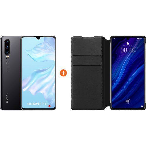 Huawei P30 Zwart + P30 Flip Cover Book Case Zwart