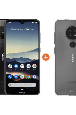 Nokia 7.2 128GB Zwart + Azuri Nokia 7.2 TPU Back Cover Transparant