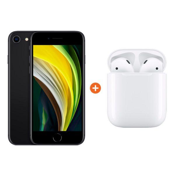 iPhone SE 64 GB Zwart + Apple AirPods 2 met oplaadcase