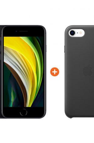 iPhone SE 64 GB Zwart + Apple iPhone SE Leather Back Cover