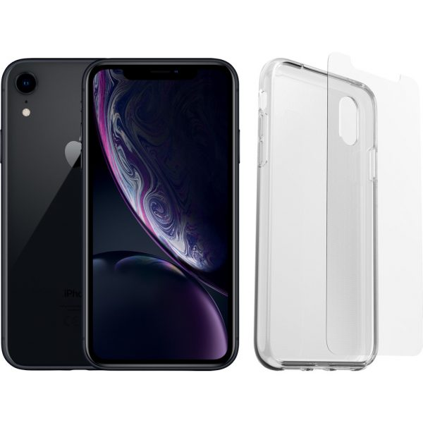 Refurbished iPhone Xr 64 GB Zwart + Otterbox Clearly Protected Full Body Transparant
